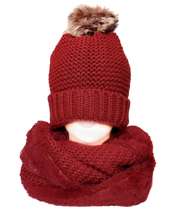 KMystic Thick Winter Slouch Hat and Infinity Scarf Set - Fur Pom Red - CP187409GKK