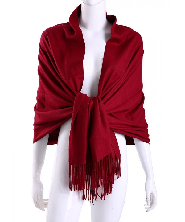 MuNiSa Women's Large Soft Pashmina Cashmere Blend Shawls Wrap Stole Scarf with Tassel - Burgundy - CM186RZ9XIN