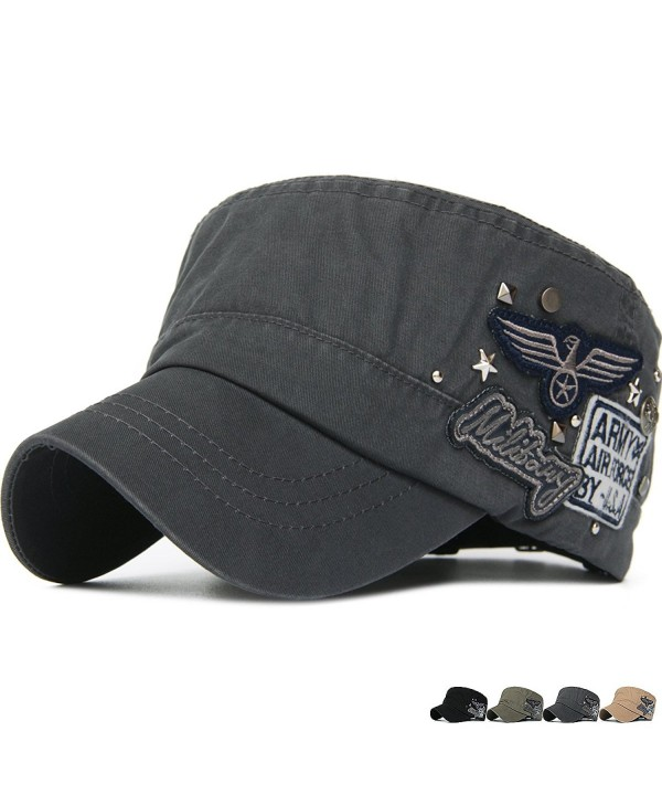Rayna Fashion Unisex Adult Cadet Caps Military Hats Star Studs USA Eagle - Grey - CI189AHW6SD