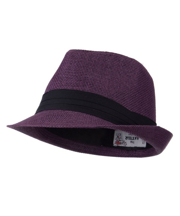 Pleated Hat Band Straw Fedora Hat - Purple - Purple - CF11E8U1TZZ