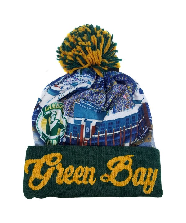 Green Bay Winter Picture City View Beanie Skull Cap - CQ12N7F6XGA