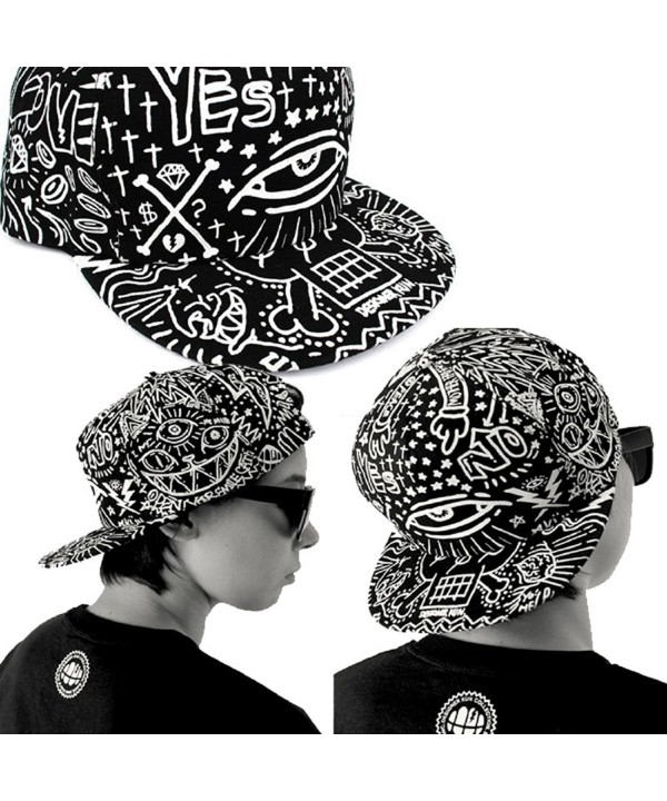 Shensee Neutral Retro Baseball Flat Bill Hat Hippie Eye Hiphop Adjustable Cap - CL126OXR4EX