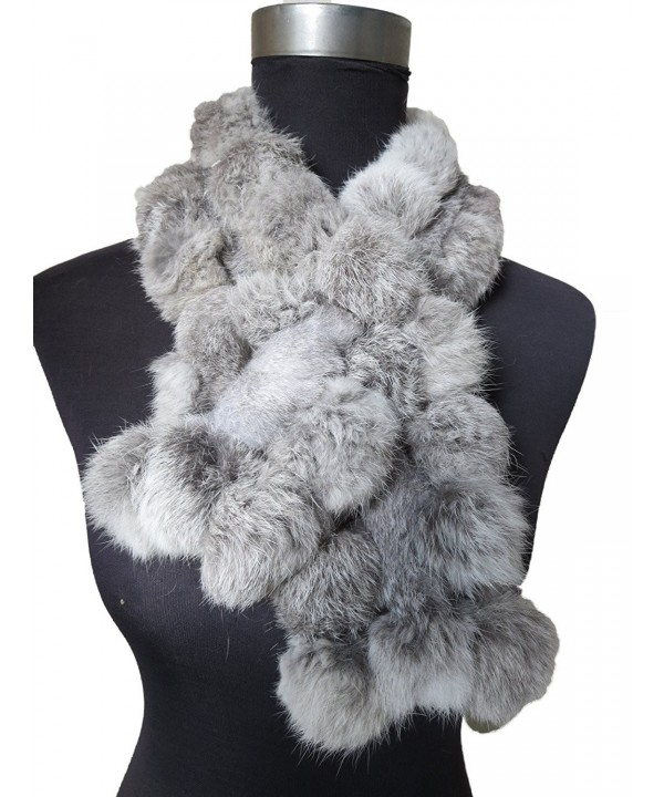 Real Rabbit Fur Scarf Warm Protect the Cervical Spine - Natural Gray - CJ185QX0O9Q