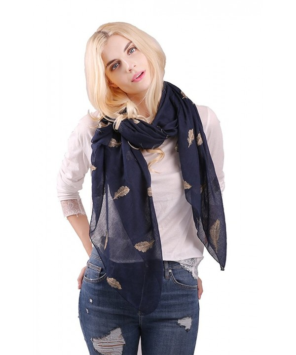 MissShorthair Womens Fashion Embroidery Scarfs Silver Golden Embroidered Shawl Wraps - Gold Feather - C912OBT2GJP