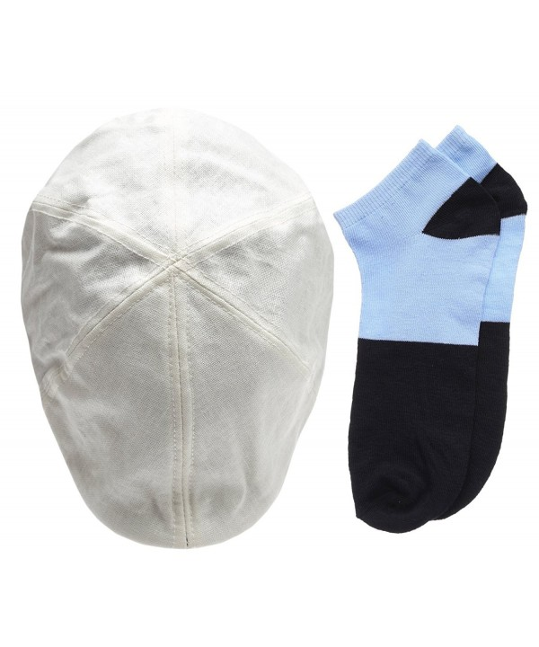 Men's 6 Panel Linen Duckbill Ivy Hat With Summer Low Cut Sock - White - CM12H1WR6KD