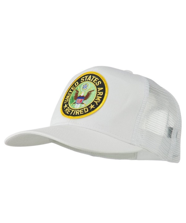 US Army Retired Circle Patched Mesh Cap - White - CK11RNPRG1N