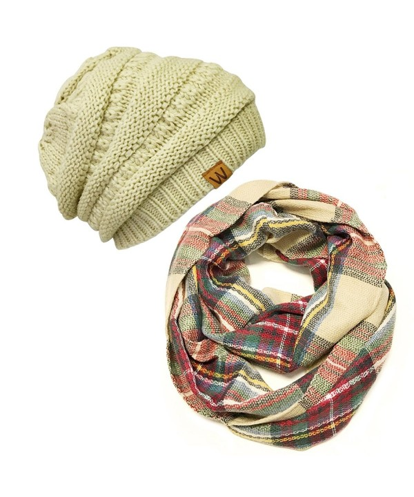 Wrapables Plaid Print Winter Infinity Scarf and Beanie Hat Set- Red and Green - C412ODYPI8C