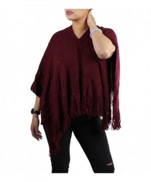 Bohemian V-Neck Sequined Tasseled Short Poncho - Maroon - CD127YK8PFH