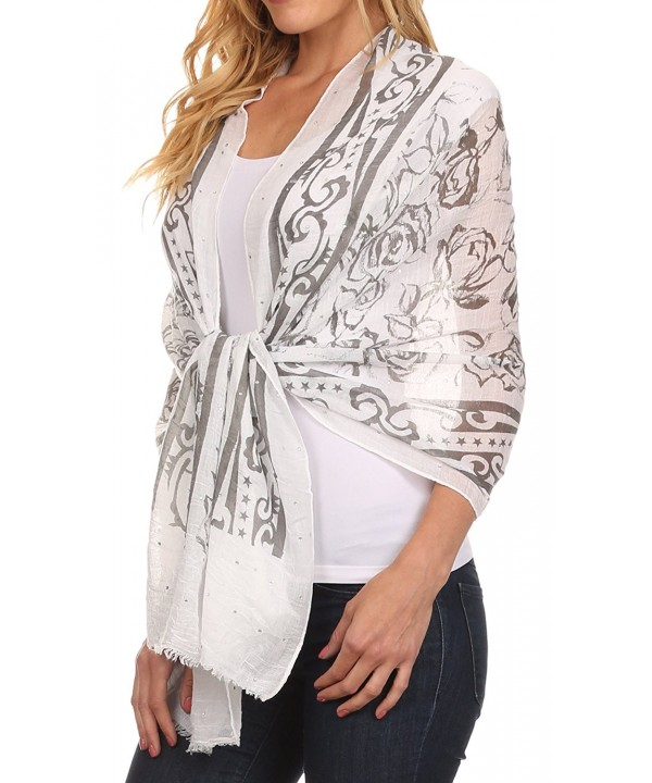 Sakkas Hillary summer breeze lightweight flowing sheer gauze wrap scarf - 8-white - CZ1217P0CX3
