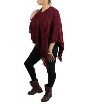 Bohemian V Neck Sequined Tasseled Poncho