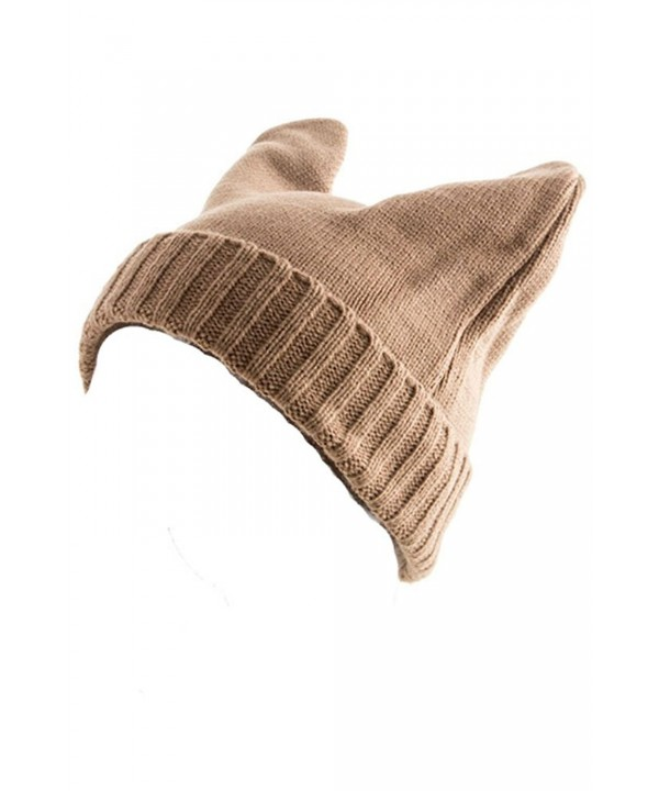 Plum Feathers Devil Horn Rabbit Ear Knit Beanie Winter Hat - Taupe - CS11OOVFRDN