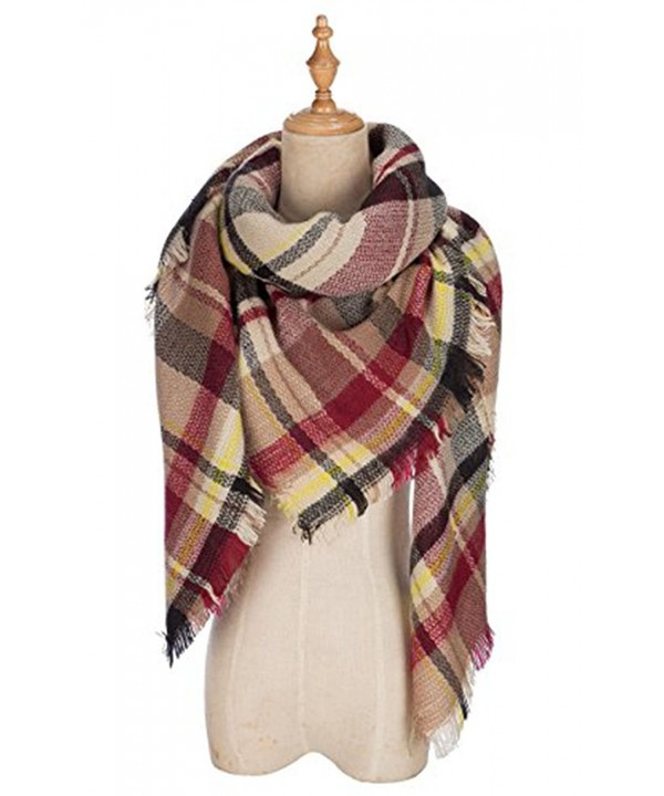 Plaid Blanket Tassels Soft Warm Scarf Large Gorgeous Wrap Shawl - Brown Red - CQ186Z9YXIA
