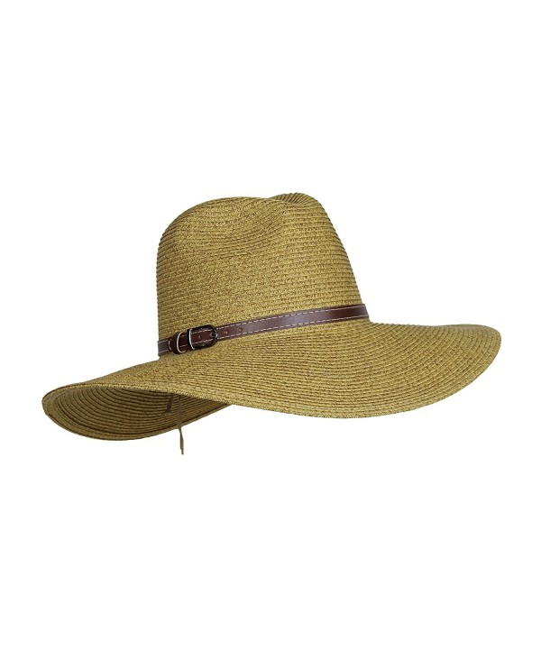 HatQuarters Packable Straw Safari Hat w/Buckle hatband- Wide Brim UV Sun Protection- Adjustable - Light Natural - CC17WUQQ98N