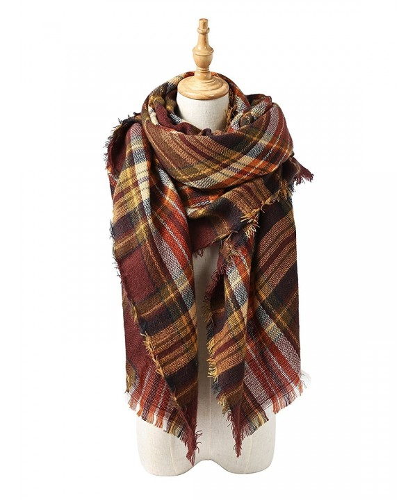 Trendy Blanket Stylish Checked Scarves - Coffee Warm - C4187G37HRA