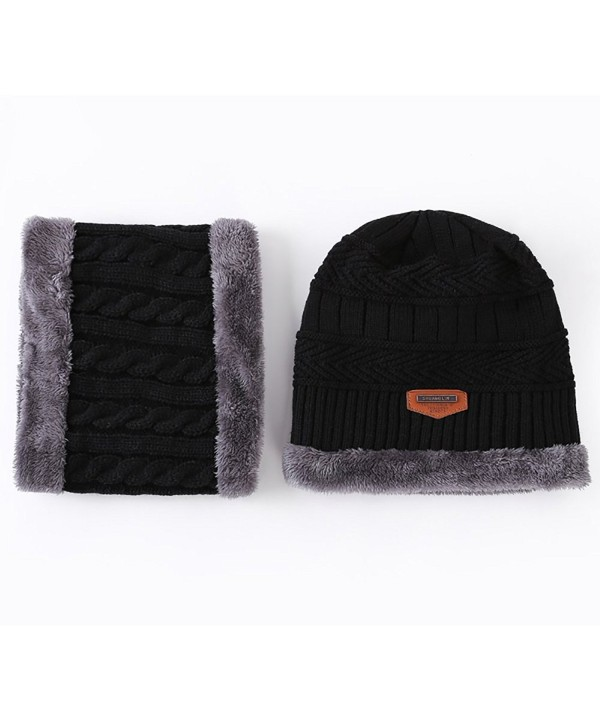 ocuS Winter Knit Hat Scarf Set Soft Thick Beanie Hat Warm Skull Cap For Men & Women - Black - CG188RT9UQ9