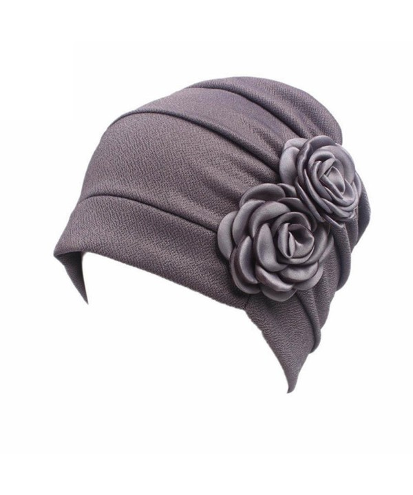 Highpot Women Flowers Head Cap Chemo Beanie Cancer Hat Scarf Turban Wrap Cap - Gray - CC184S8T9EU