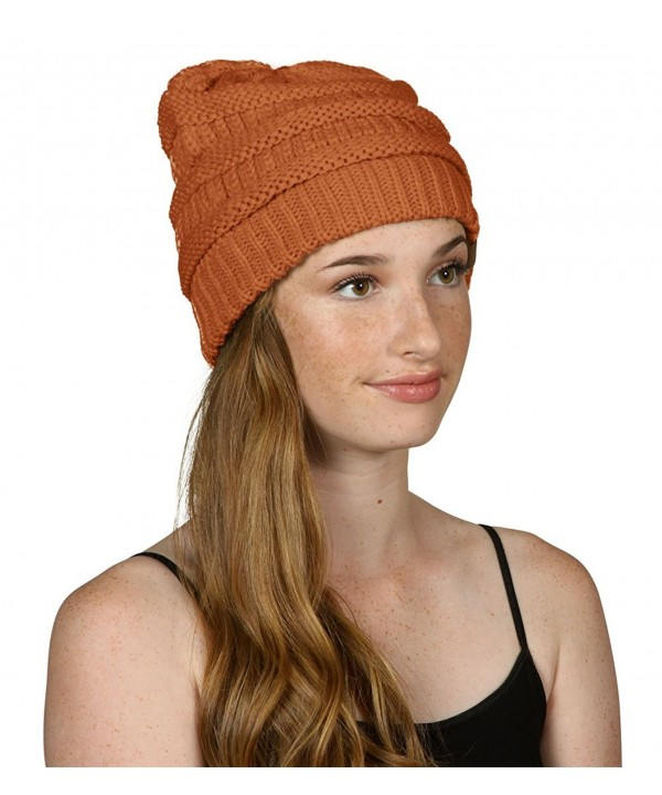 Thick Knit Soft Stretch Beanie Cap - Rust - C411P214WB7