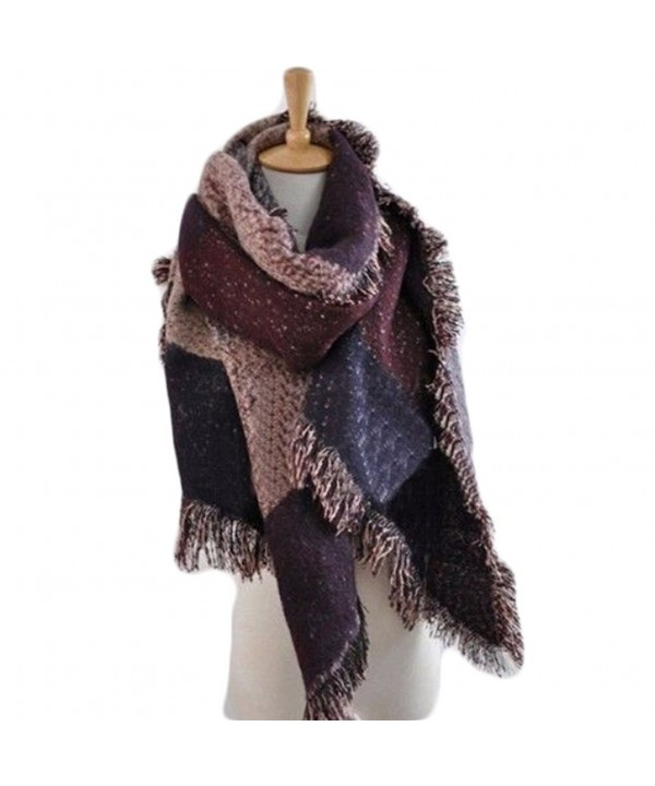 Blanket Cashmere Scarves Checked romantic - Romantic Wine Red - CH187Q8GGRT