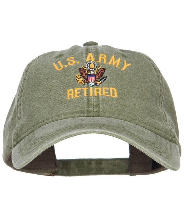 US Army Retired Military Embroidered Washed Cap - Olive - CP185ODOT6Z