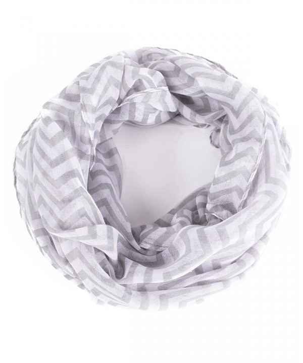 Luxina Infinity Scarf Print Voile Multi-colored Ligthweight Loop Shawl for Women - D:zigzag-white - CI12MFNU26X