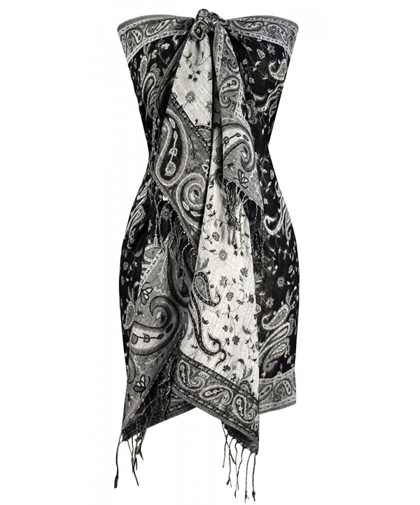 Peach Couture Elegant Double Layer Reversible Paisley Pashmina Shawl Wrap Scarf - Black and White - CS186AD07IH
