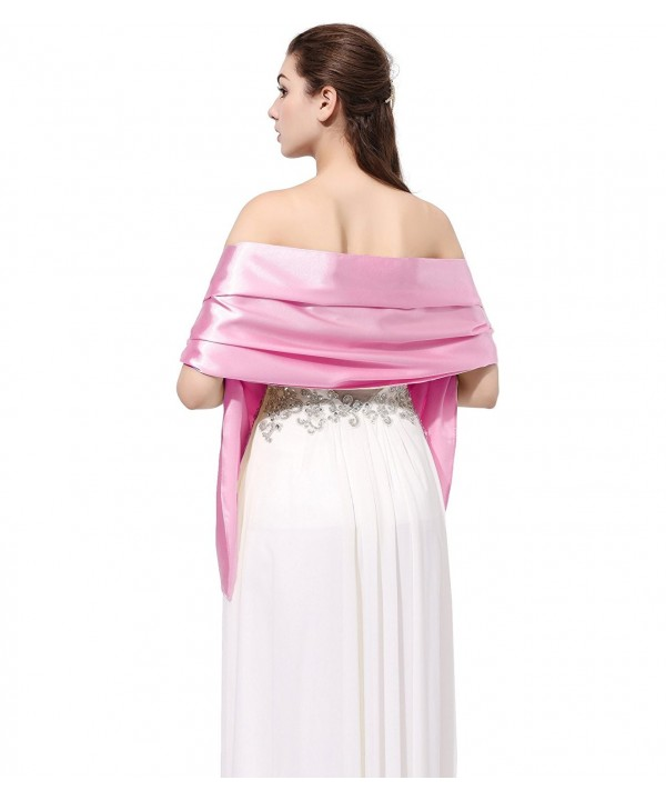 Kewl Fashion Women's Satin Bridal Evening Shawls and Wraps for Special Occasion - Pink - CE12EZHTHDL