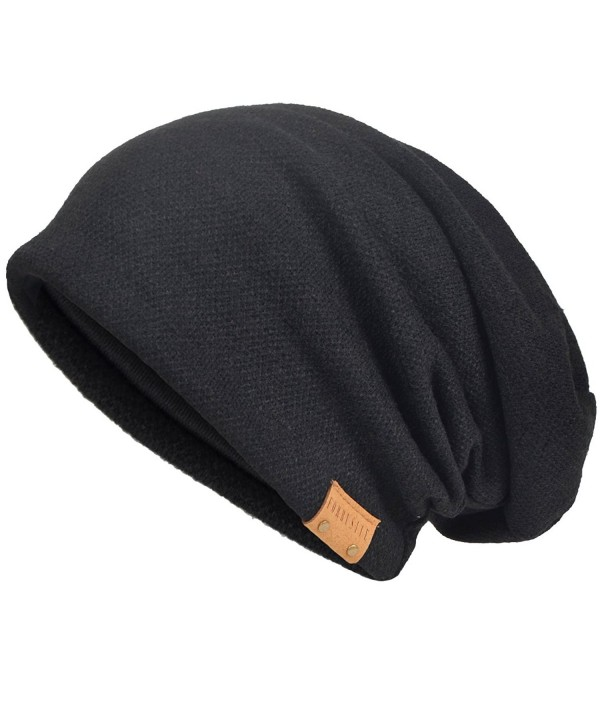 Men's Cool Cotton Beanie Slouch Skull Cap Long Baggy Hip-Hop Winter Summer Hat - Black - CX12KHQ74D9