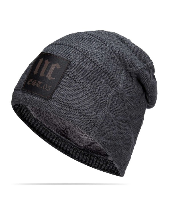 Nine City Stylish Unisex Baggy Beanie Slouchy Crease Knit Beanie Baggy Skull Cap Hat (Gray) - CI12MN19JZH
