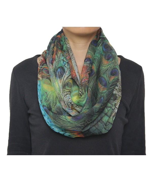 Seamaidmm Fashion Bird Peacock Feather Print Chiffon Infinity/Loop Scarf Green - C911YM2U8J7