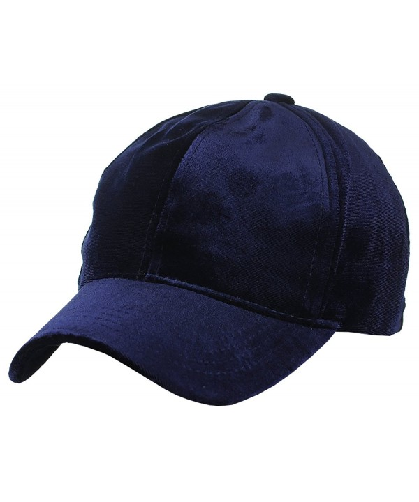 C.C Unisex Soft Velvet Crushable Blank Adjustable Baseball Cap Hat - Navy - CJ187DSKKMS