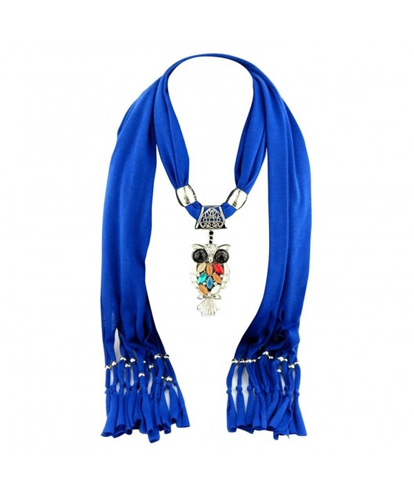 Iusun Luxury Women Heart Gemstone Necklace Scarves Shawl Soft Scarf Wraps - Blue 1 - CP12NSHTPEQ