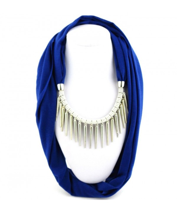 Ysiop Women Polyester Solid Necklace Scarf Tassel Neckerchief Metal Feeling Strip Pendant - Sapphire Blue - CZ12GMTT02N