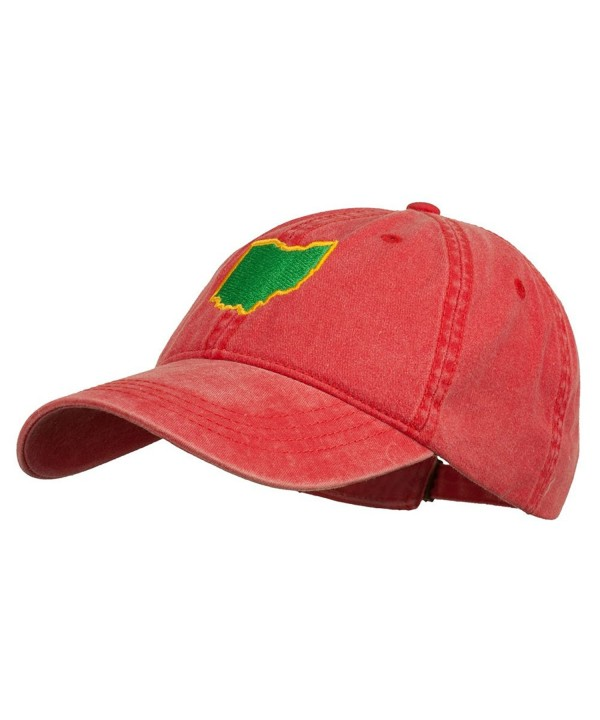 Ohio State Map Embroidered Washed Cotton Cap - Red - C211P5HWEIV