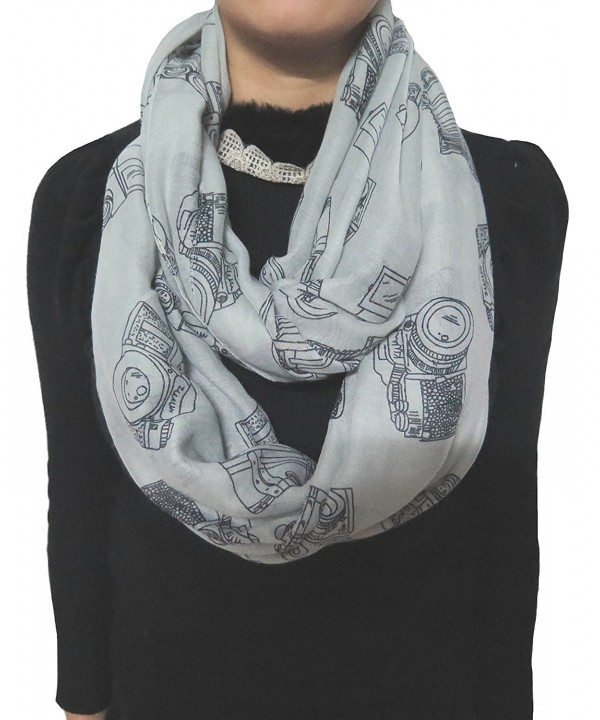 Lina & Lily Vintage Camera Print Loop Infinity Scarf for Women Lightweight - Grey - CJ11PCLIHHR