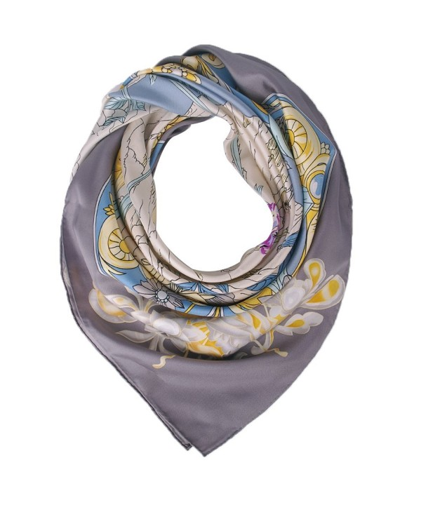 100% Silk Scarf Mulberry for Women Large Square Shawl 55''x55'' IRRANI Gift - Gray - C212NA1VT3T