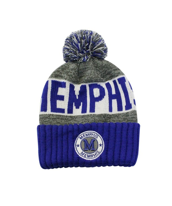 ChoKoLids Football City Pom Beanie Premium Embroidered Patch Winter Soft Thick Beanie Skully Hat - Memphis - CE1873GKXMM