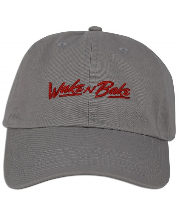 Wake N Bake Hat Dad Embroidered Cap Baseball Curved Unsturctured Bill - Grey - C618209ESM5