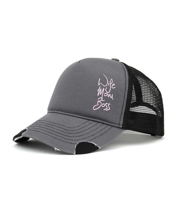 Wife Mom Boss Trucker Cap - Grey-black - CZ182DYIW96