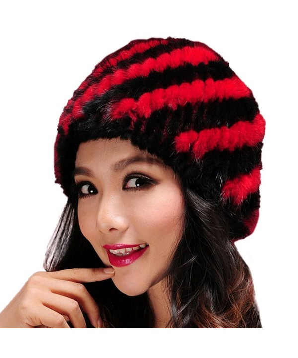 Women's Knitted Skullies Beanie Hat with Real Mink Fur - Fur Story - Red and Black - CS1255CCVLZ