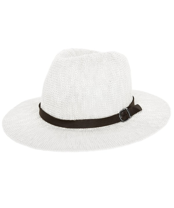 Aerusi Coral Jones Women&AEligs Floppy Straw Hat Fedora - White - CP126BIVUCD