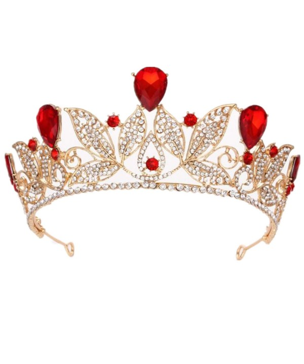 "Wiipu Baroque Drop Rhinestone Crystals leaves Tiara Crown-5.5"" Diameter(A1700) - Red - C11884GSY5X"